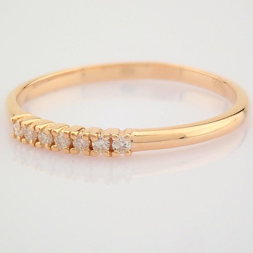 HRD Antwerp Certified 14K Rose/Pink Gold Diamond Ring (Total 0.06 Ct. Stone) 14K Rose/Pink Gold Ring - Image 4 of 9
