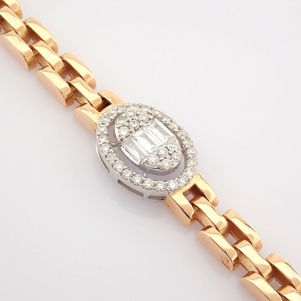 HRD Antwerp Certified 14K White and Rose Gold Diamond Bracelet (Total 0.3 Ct. Stone) 14K White and - Image 3 of 14