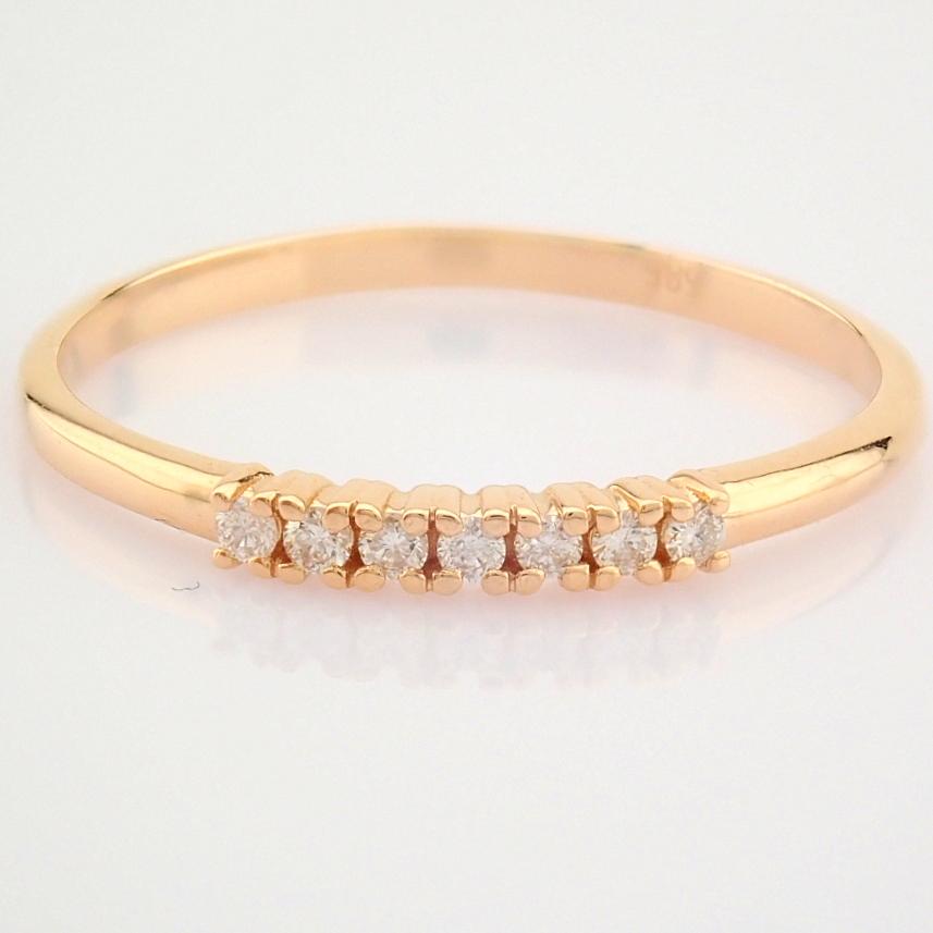 HRD Antwerp Certified 14K Rose/Pink Gold Diamond Ring (Total 0.06 Ct. Stone) 14K Rose/Pink Gold Ring - Image 7 of 9