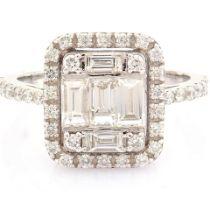 HRD Antwerp Certified 14K White Gold Diamond Ring (Total 1.11 Ct. Stone) 14K White Gold Ring