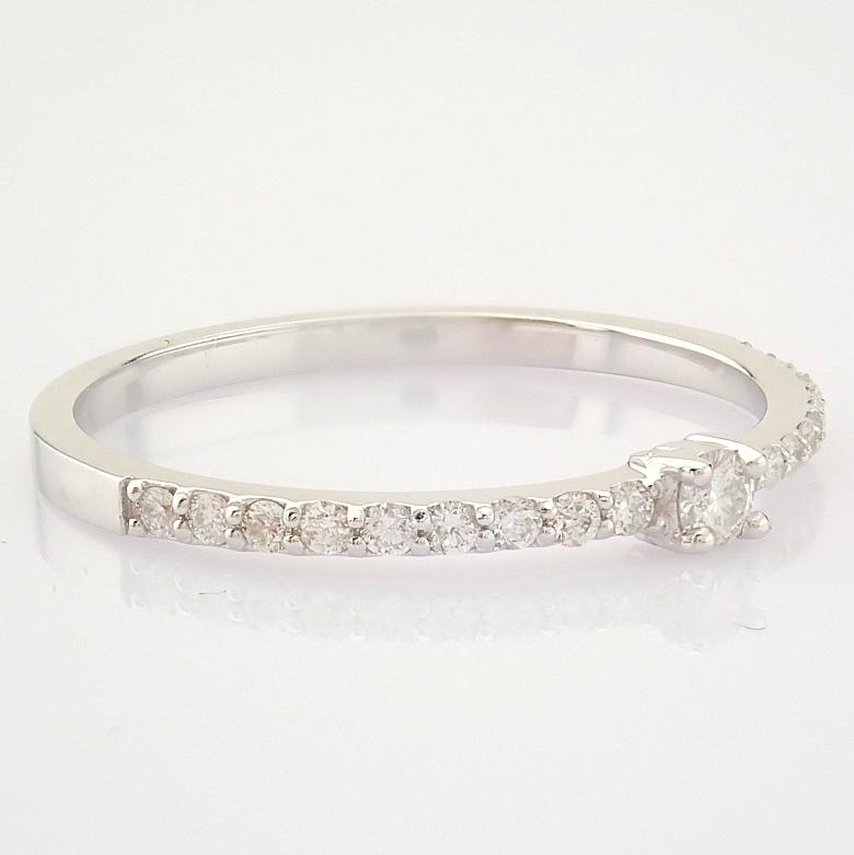 HRD Antwerp Certified 14K White Gold Diamond Ring (Total 0.11 Ct. Stone) 14K White Gold Ring - Image 5 of 9
