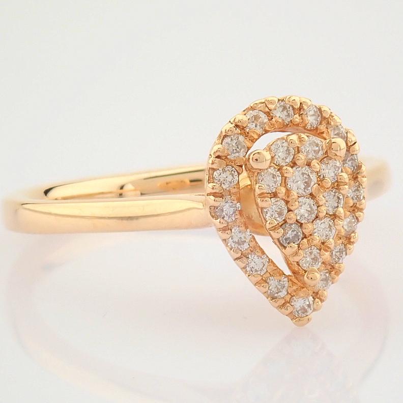 HRD Antwerp Certified 14K Rose/Pink Gold Diamond Ring (Total 0.16 Ct. Stone) 14K Rose/Pink Gold Ring - Image 7 of 7