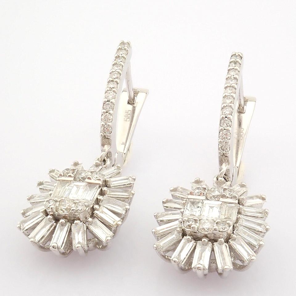 HRD Antwerp Certified 14K White Gold Diamond Earring (Total 1.02 Ct. Stone) 14K White Gold Earring