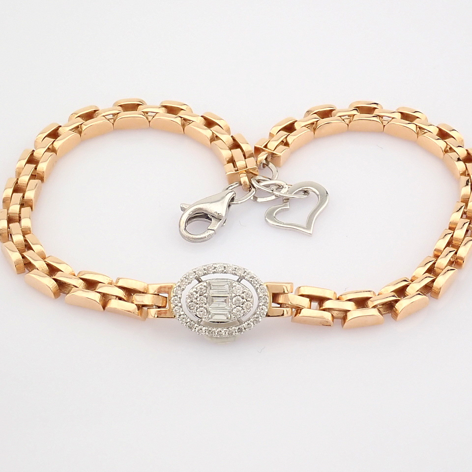 HRD Antwerp Certified 14K White and Rose Gold Diamond Bracelet (Total 0.3 Ct. Stone) 14K White and - Image 7 of 14
