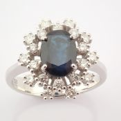 HRD Antwerp Certified 18K White Gold Sapphire Cluster Ring Total 1.45 Ct.   18K White Gold Ring