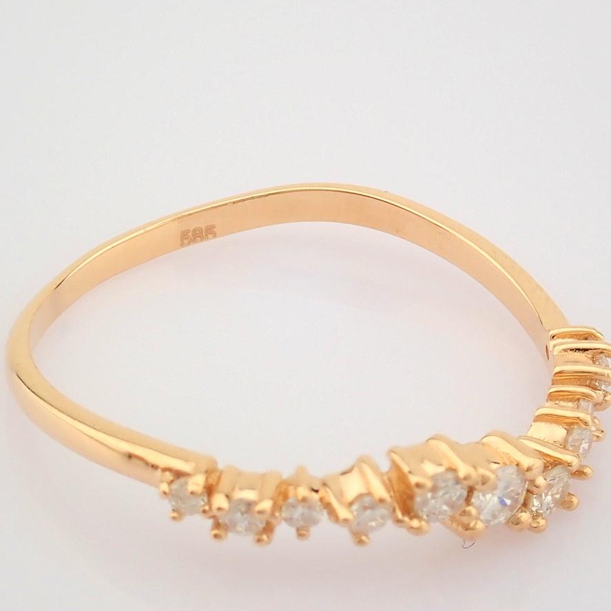 HRD Antwerp Certified 14K Rose/Pink Gold Diamond Ring (Total 0.21 Ct. Stone) 14K Rose/Pink Gold Ring - Image 8 of 10