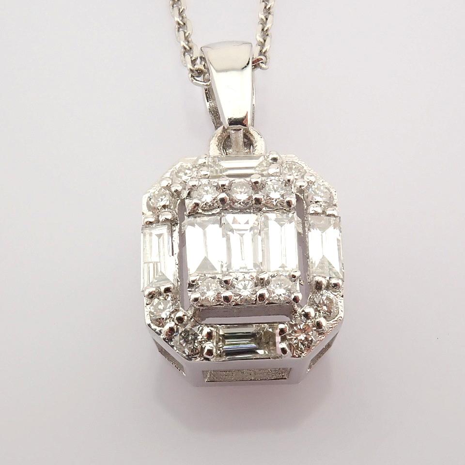 HRD Antwerp Certified 14k White Gold Diamond Pendant (Total 0.3 Ct. Stone) 14k White Gold Pendant - Image 4 of 8