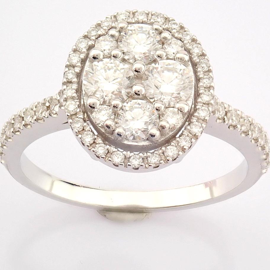 HRD Antwerp Certified 18K White Gold Diamond Ring (Total 0.89 Ct. Stone) 18K White Gold Ring - Image 11 of 13
