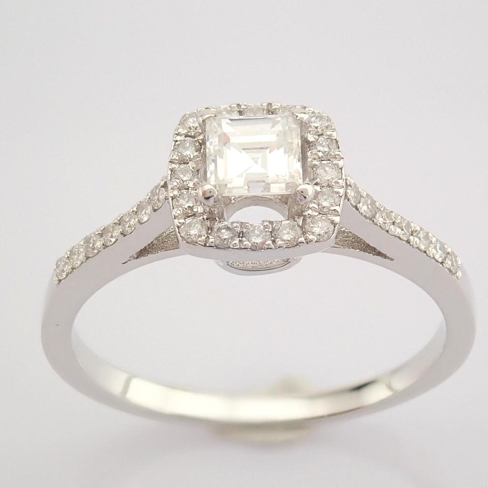 HRD Antwerp Certified 18K White Gold Princess Cut Diamond & Diamond Ring (Total 0.52 Ct. Ston... 18K