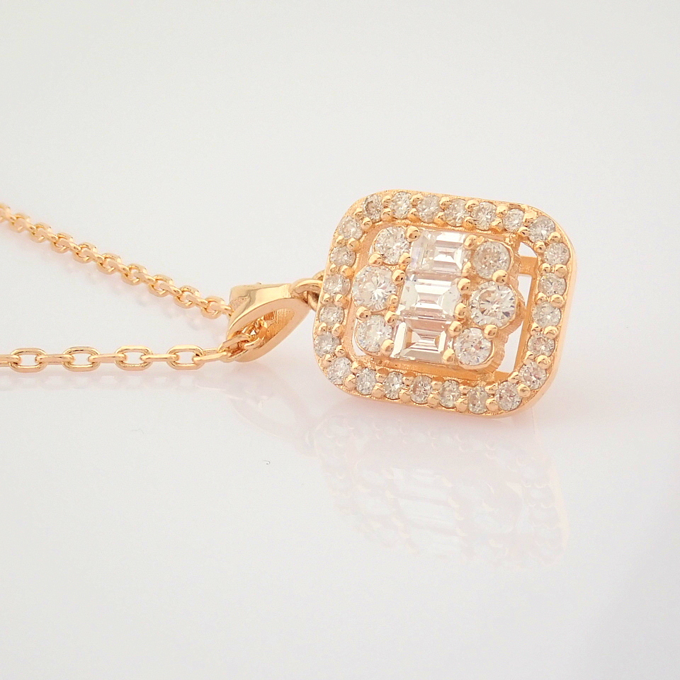 HRD Antwerp Certified 14K Rose/Pink Gold Diamond Necklace (Total 0.37 Ct. Stone) 14K Rose/Pink - Image 2 of 12