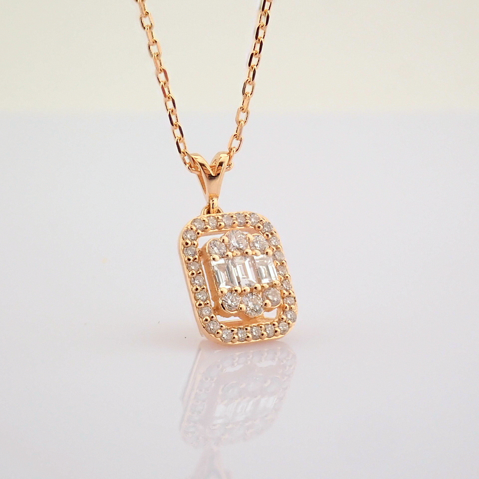 HRD Antwerp Certified 14K Rose/Pink Gold Diamond Necklace (Total 0.37 Ct. Stone) 14K Rose/Pink - Image 9 of 12