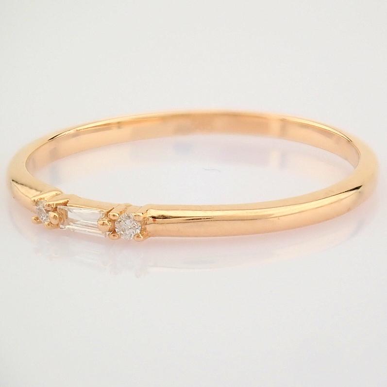 HRD Antwerp Certified 14K Rose/Pink Gold Baguette Diamond & Diamond Ring (Total 0.04 Ct. Ston... 14K - Image 2 of 9