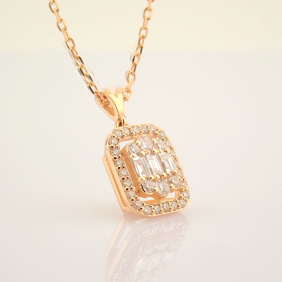 HRD Antwerp Certified 14K Rose/Pink Gold Diamond Necklace (Total 0.37 Ct. Stone) 14K Rose/Pink - Image 8 of 12