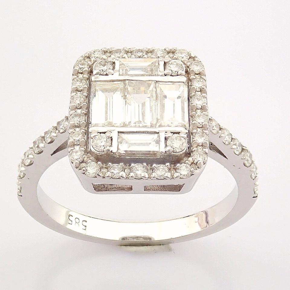 HRD Antwerp Certified 14K White Gold Diamond Ring (Total 1.11 Ct. Stone) 14K White Gold Ring - Image 9 of 12