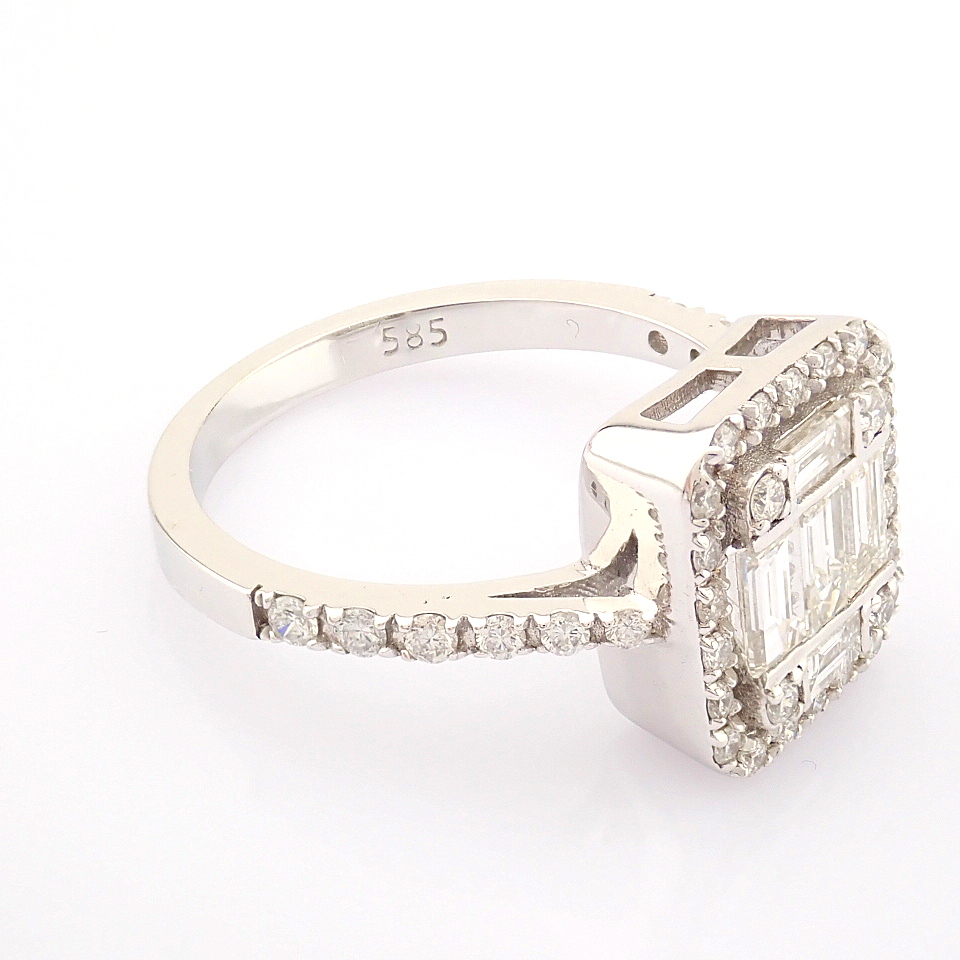 HRD Antwerp Certified 14K White Gold Diamond Ring (Total 1.11 Ct. Stone) 14K White Gold Ring - Image 7 of 12