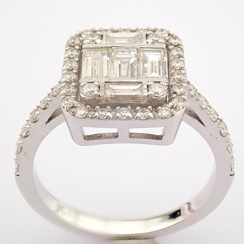 HRD Antwerp Certified 14K White Gold Diamond Ring (Total 1.11 Ct. Stone) 14K White Gold Ring - Image 10 of 12