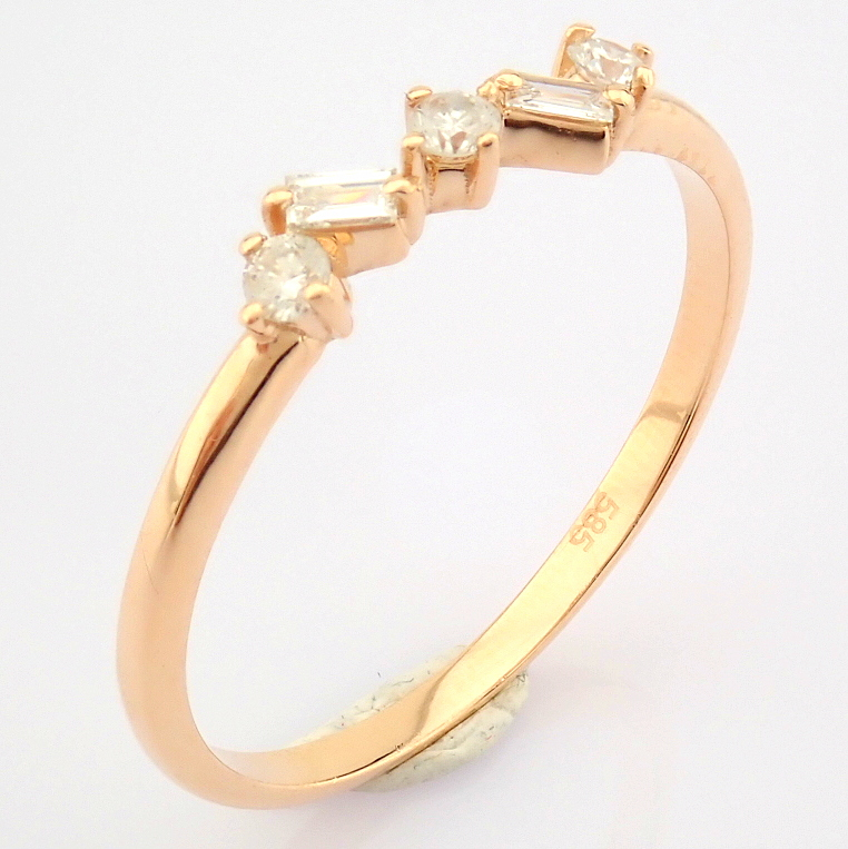 HRD Antwerp Certified 14K Rose/Pink Gold Baguette Diamond & Diamond Ring (Total 0.14 Ct. Ston... 14K - Image 8 of 9