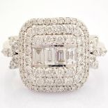 HRD Antwerp Certified 14K White Gold Diamond Ring (Total 1.04 Ct. Stone) 14K White Gold Ring