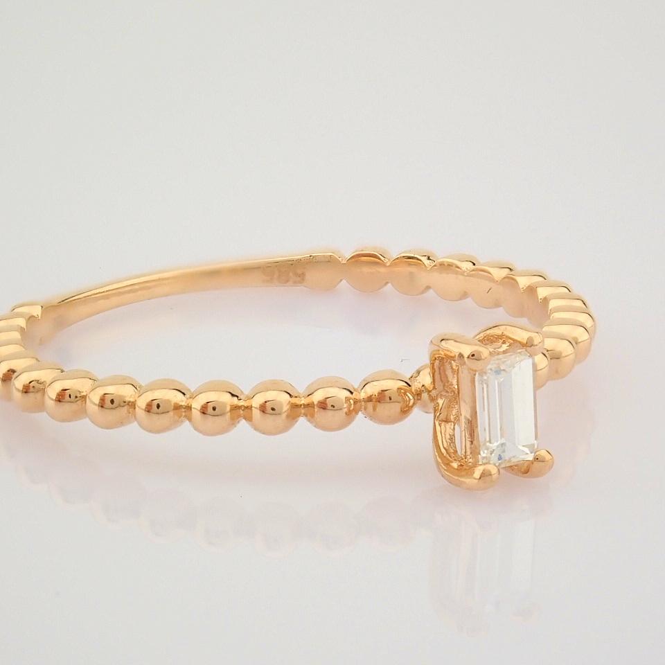 HRD Antwerp Certified 14K Rose/Pink Gold Baguette Diamond Ring (Total 0.09 Ct. Stone) 14K Rose/ - Image 2 of 9
