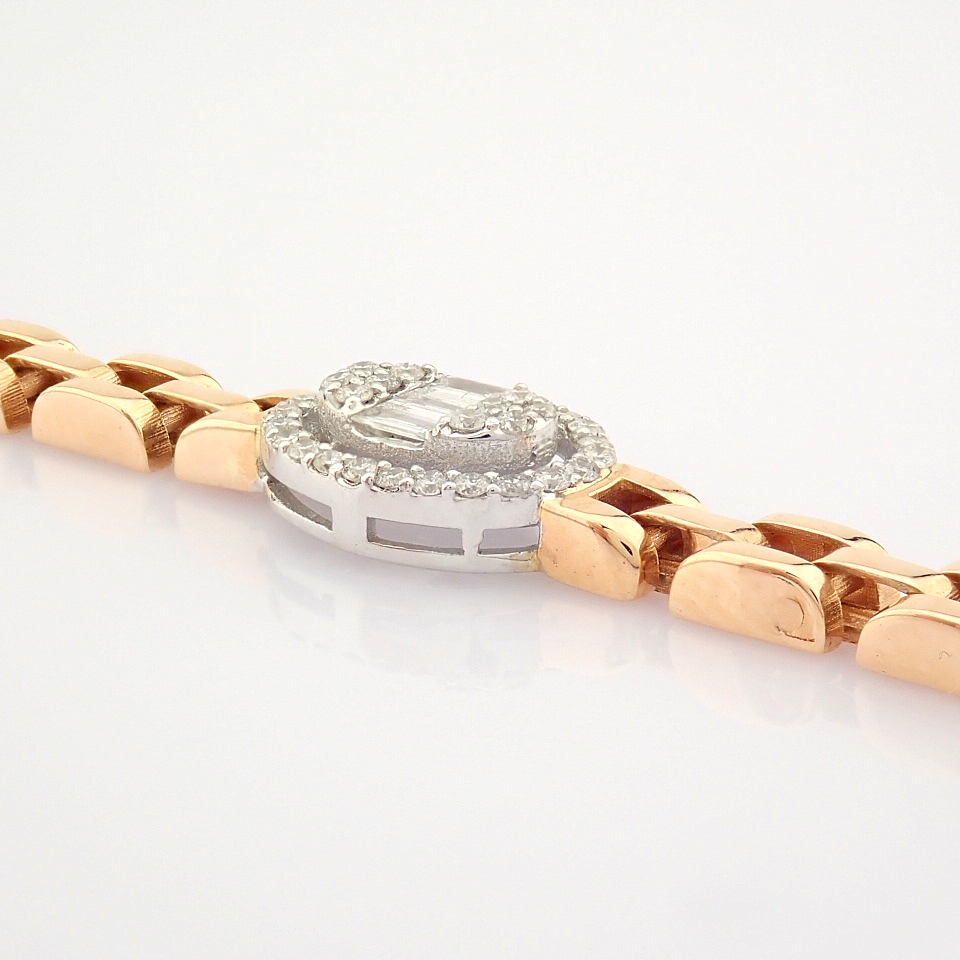 HRD Antwerp Certified 14K White and Rose Gold Diamond Bracelet (Total 0.3 Ct. Stone) 14K White and - Image 4 of 14