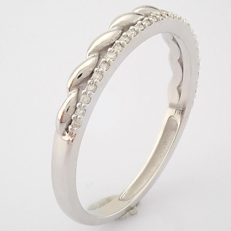 HRD Antwerp Certified 14K White Gold Diamond Ring (Total 0.07 Ct. Stone) 14K White Gold Ring - Image 3 of 9