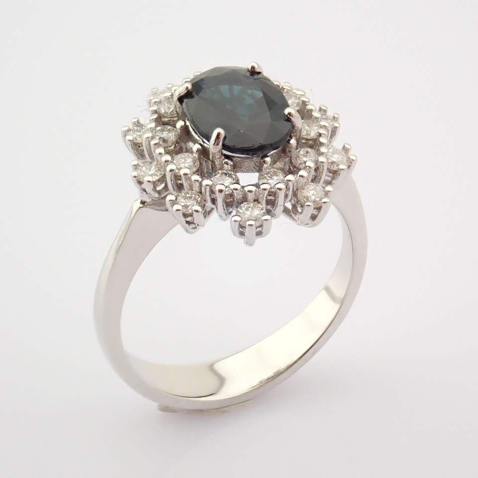 HRD Antwerp Certified 18K White Gold Sapphire Cluster Ring Total 1.45 Ct.   18K White Gold Ring - Image 6 of 6