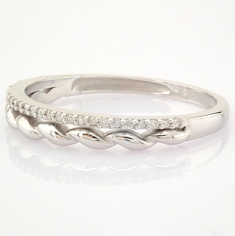 HRD Antwerp Certified 14K White Gold Diamond Ring (Total 0.07 Ct. Stone) 14K White Gold Ring - Image 6 of 9