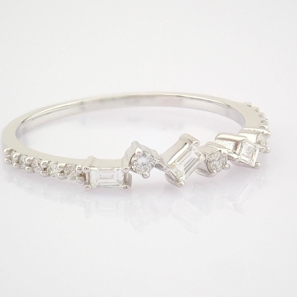 HRD Antwerp Certified 14k White Gold & Diamond Ring (Total 0.19 Ct. Stone) 14k White Gold Ring