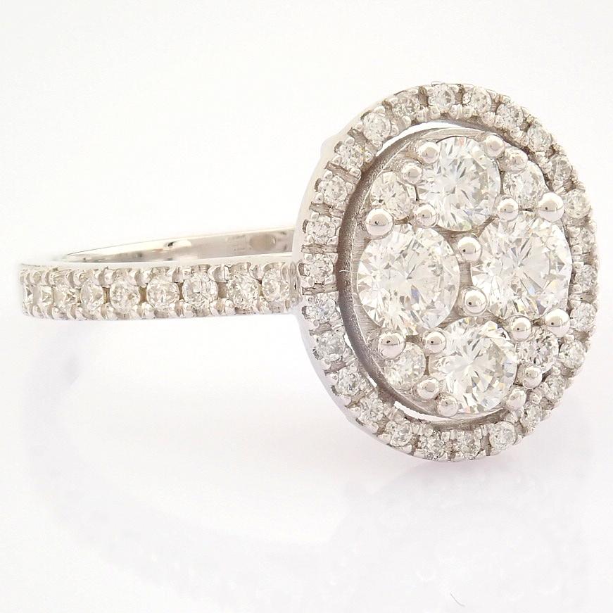 HRD Antwerp Certified 18K White Gold Diamond Ring (Total 0.89 Ct. Stone) 18K White Gold Ring - Image 6 of 13