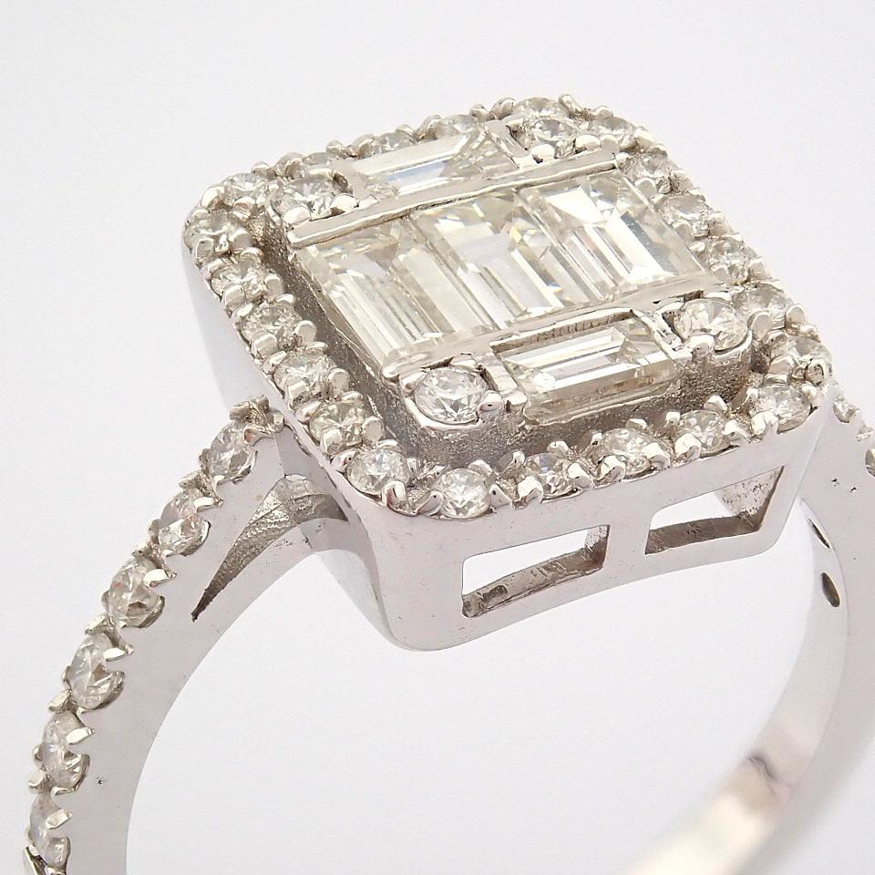 HRD Antwerp Certified 14K White Gold Diamond Ring (Total 1.11 Ct. Stone) 14K White Gold Ring - Image 2 of 12