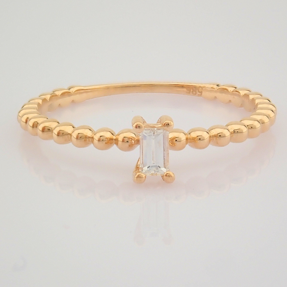 HRD Antwerp Certified 14K Rose/Pink Gold Baguette Diamond Ring (Total 0.09 Ct. Stone) 14K Rose/