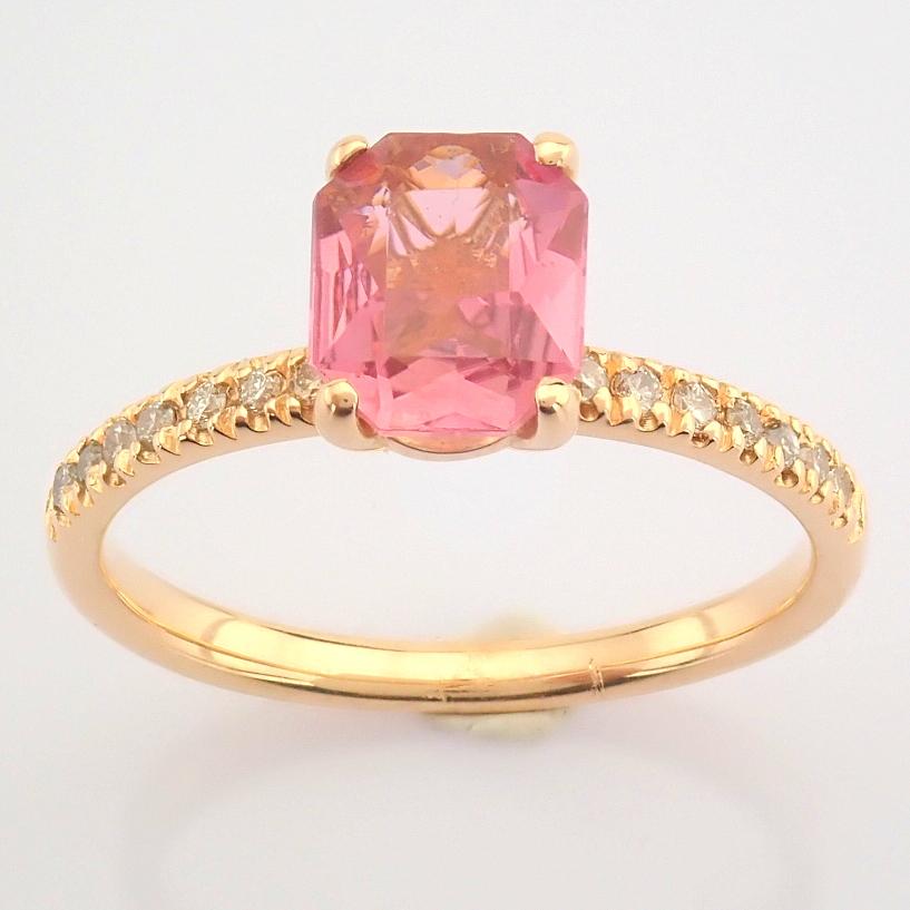 HRD Antwerp Certified 14K Rose/Pink Gold Diamond & Tourmaline Ring (Total 0.83 Ct. Stone) 14K Rose/