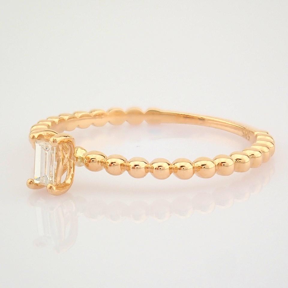 HRD Antwerp Certified 14K Rose/Pink Gold Baguette Diamond Ring (Total 0.09 Ct. Stone) 14K Rose/ - Image 3 of 9