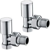New & Boxed Chrome Heated Bathroom Towel Rail Radiator Valves Taps - 15mm Angled. These Stylis...