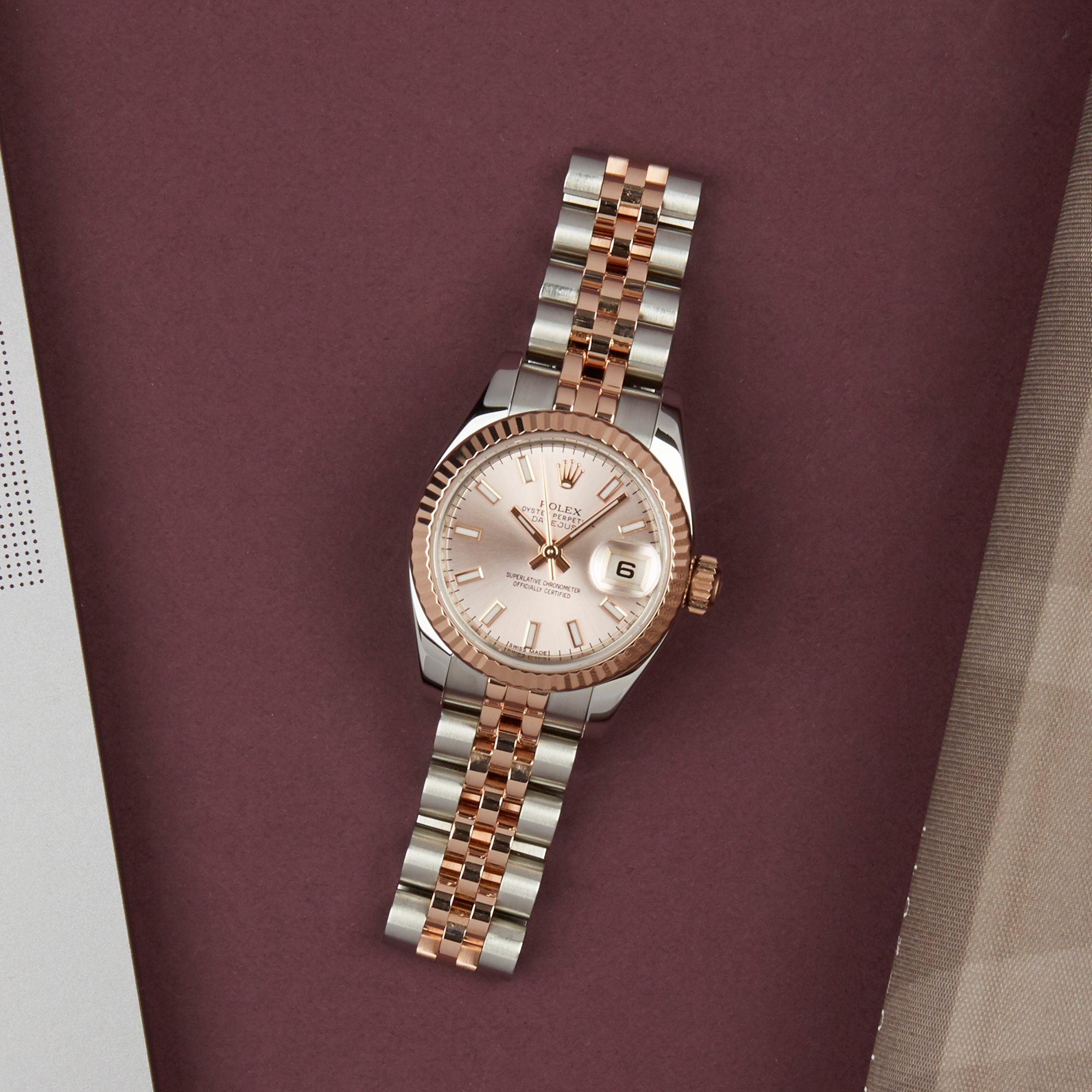 Rolex Datejust 26 179171 Ladies Rose Gold & Stainless Steel Watch - Image 6 of 10