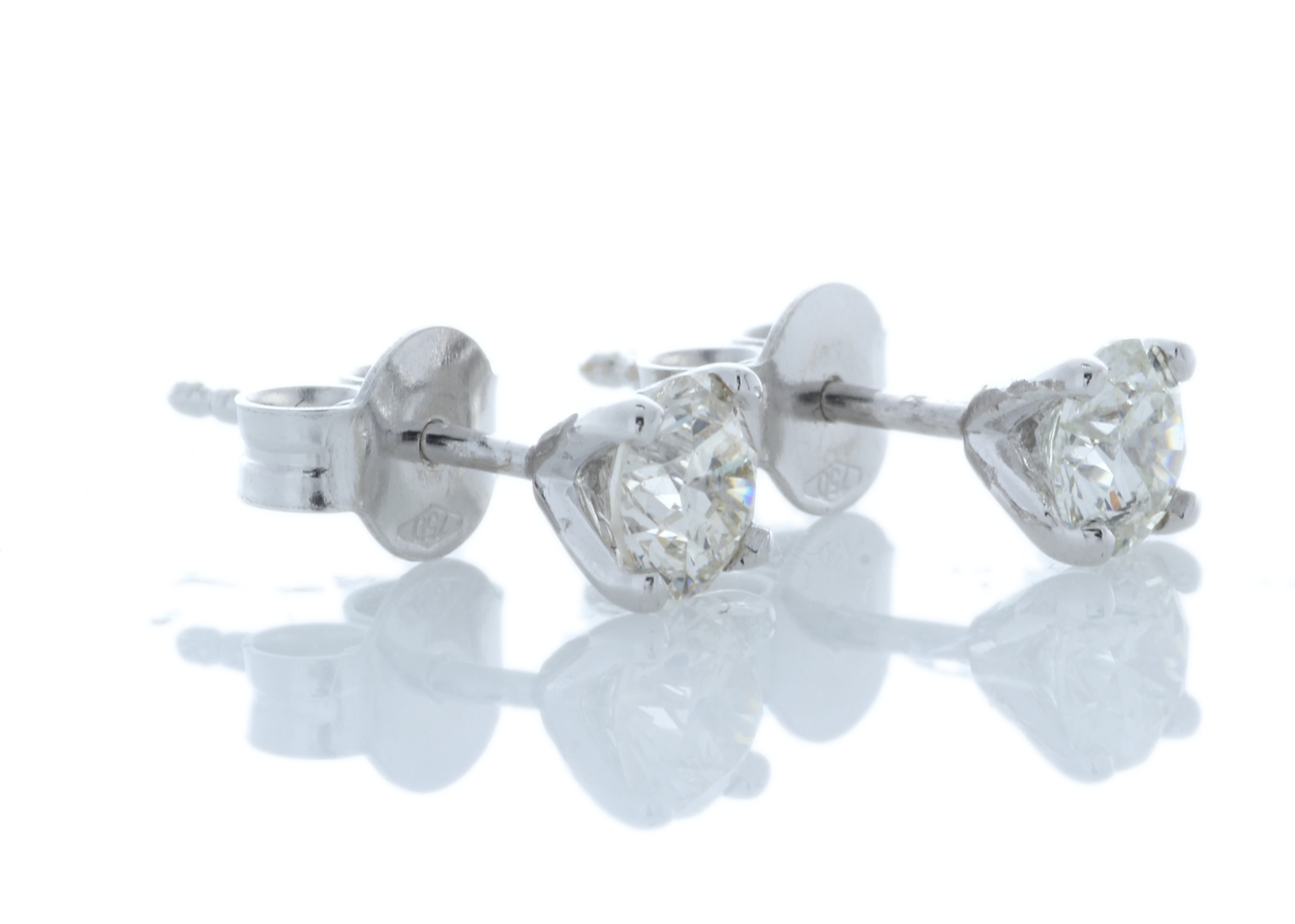 18k White Gold Wire Set Diamond Earrings 0.80 Carats - Image 2 of 4