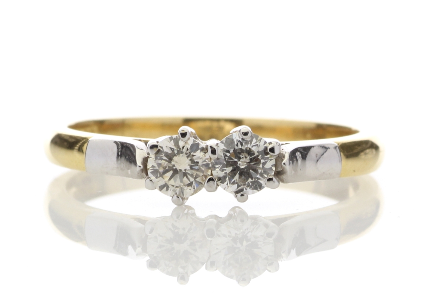 18k Two Stone Claw Set Diamond Ring 0.33 Carats