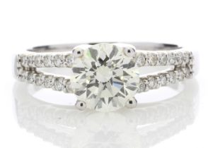 18k White Gold Solitaire Diamond Ring With Two Rows Shoulder Set 1.75 Carats
