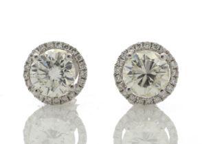 18k White Gold Halo Set Earrings 2.26 Carats