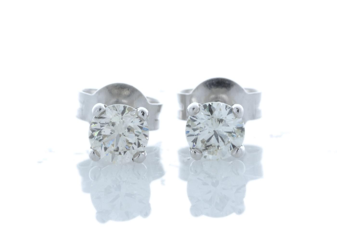 18k White Gold Wire Set Diamond Earrings 0.80 Carats
