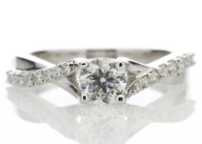 18k White Gold Diamond Ring With Stone Set Shoulders 0.72 Carats