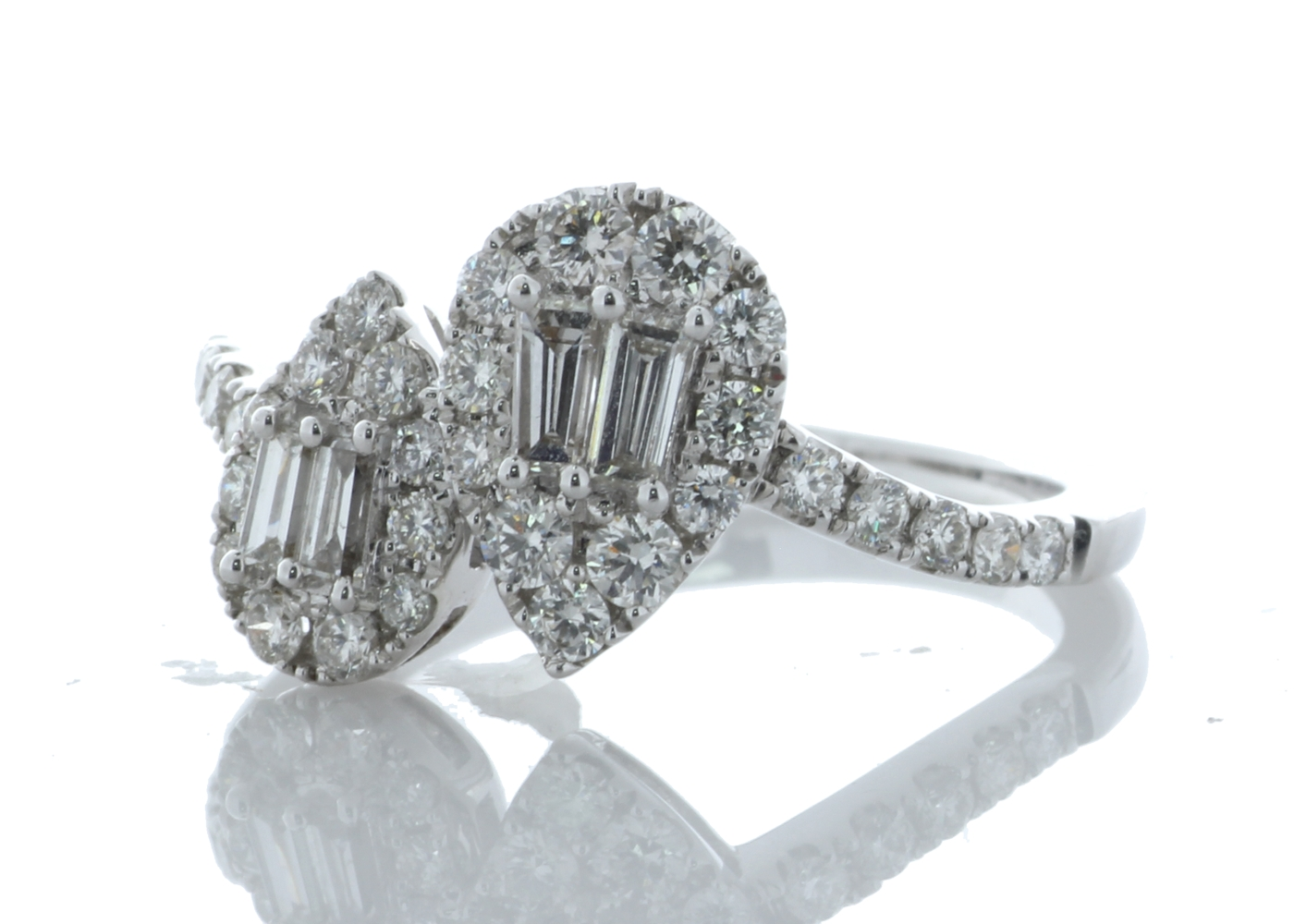 18k White Gold Double Pear Shape Cluster Diamond Ring 0.83 Carats - Image 2 of 5