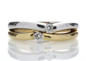 18k Two Stone Rub Over Set Diamond Ring 0.15 Carats
