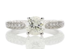 18k White Gold Diamond Ring With Stone Set Shoulders 1.38 Carats