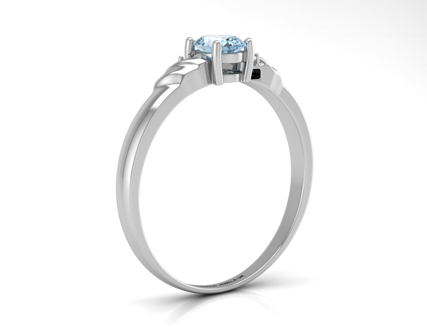 9ct White Gold Diamond And Blue Topaz Ring - Image 2 of 5