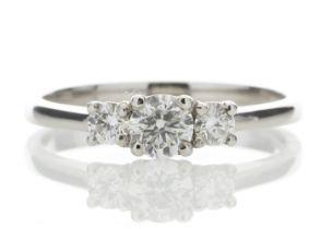 Platinum Three Stone Claw Set Diamond Ring 0.51 Carats