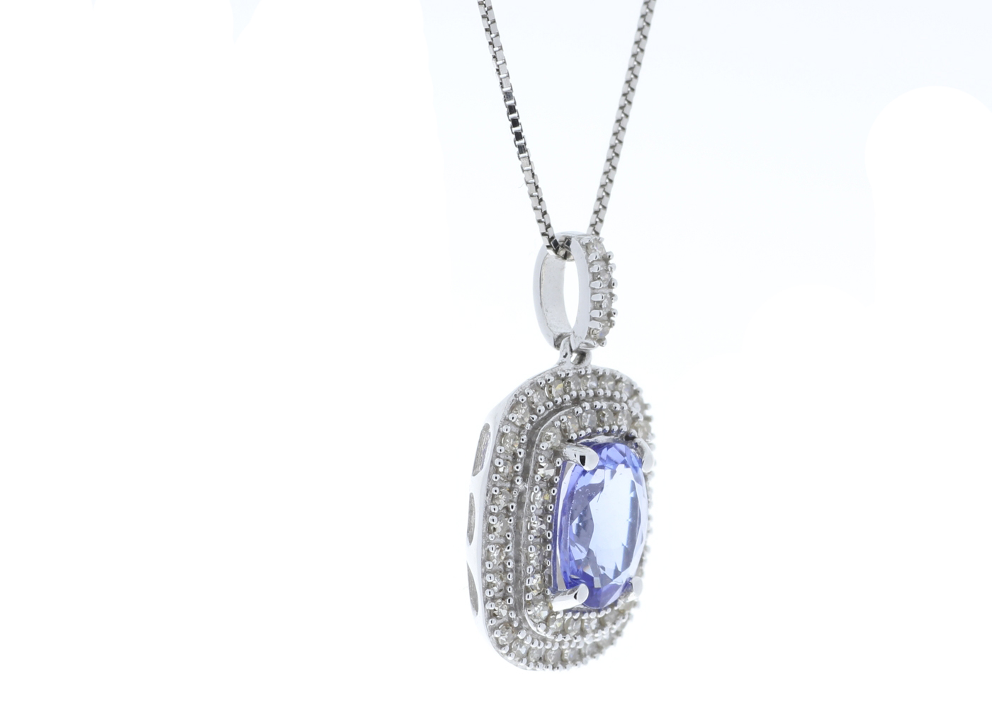 9ct White Gold Oval Tanzanite And Diamond Cluster Pendant 0.28 Carats - Image 3 of 6