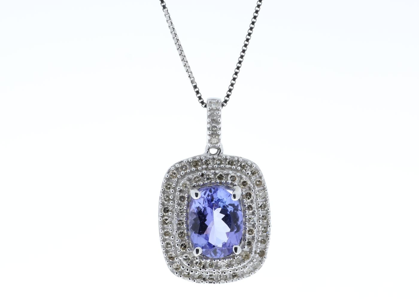 9ct White Gold Oval Tanzanite And Diamond Cluster Pendant 0.28 Carats - Image 2 of 6