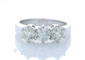 18k White Gold Three Stone Claw Set Diamond Ring 1.52 Carats
