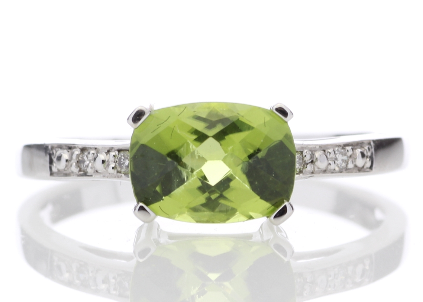 9ct White Gold Peridot Diamond Ring